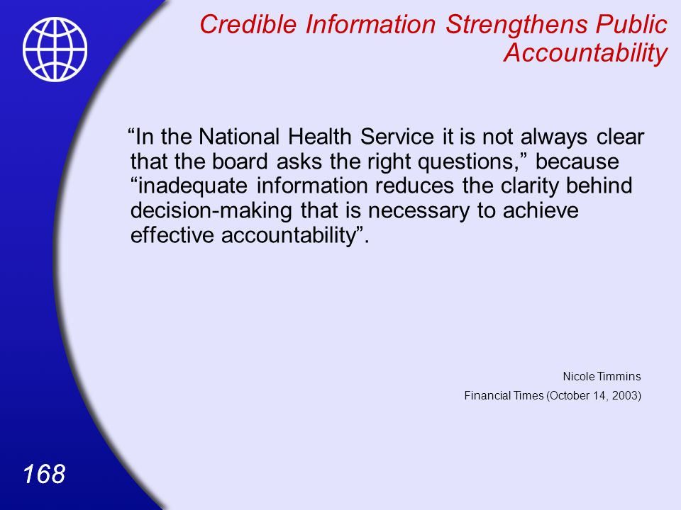 Credible Information Strengthens Public Accountability