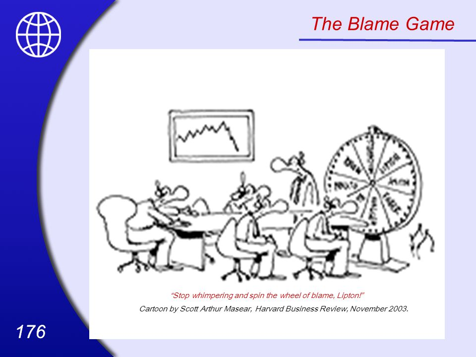 The Blame Game Stop whimpering and spin the wheel of blame, Lipton!