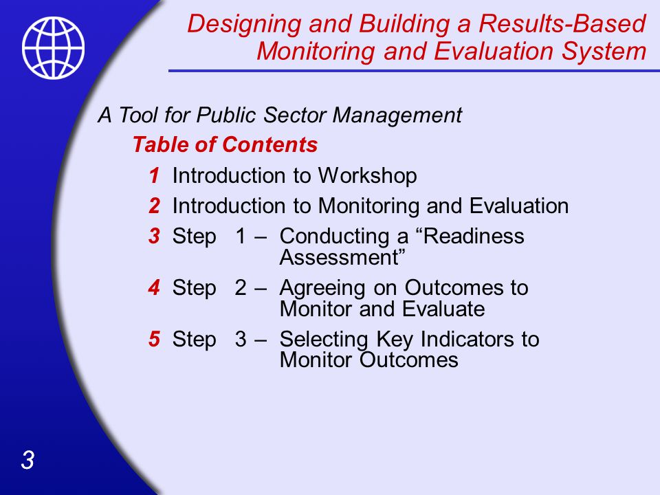 Designing and Building a Results-Based Monitoring and Evaluation System