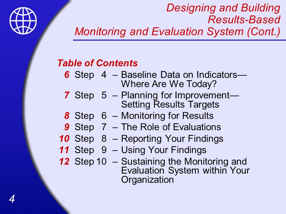 Designing and Building Results-Based Monitoring and Evaluation System (Cont.)
