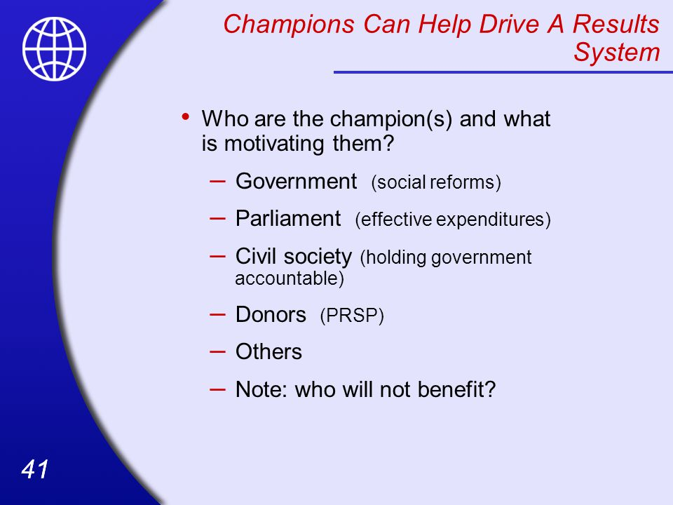 Champions Can Help Drive A Results System