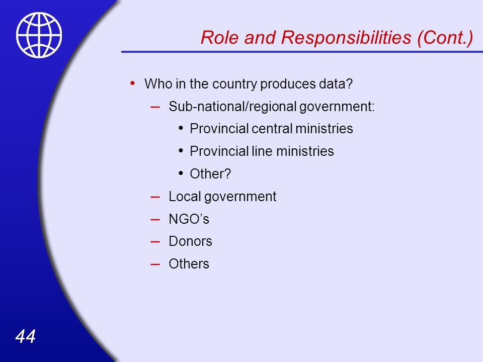 Role and Responsibilities (Cont.)