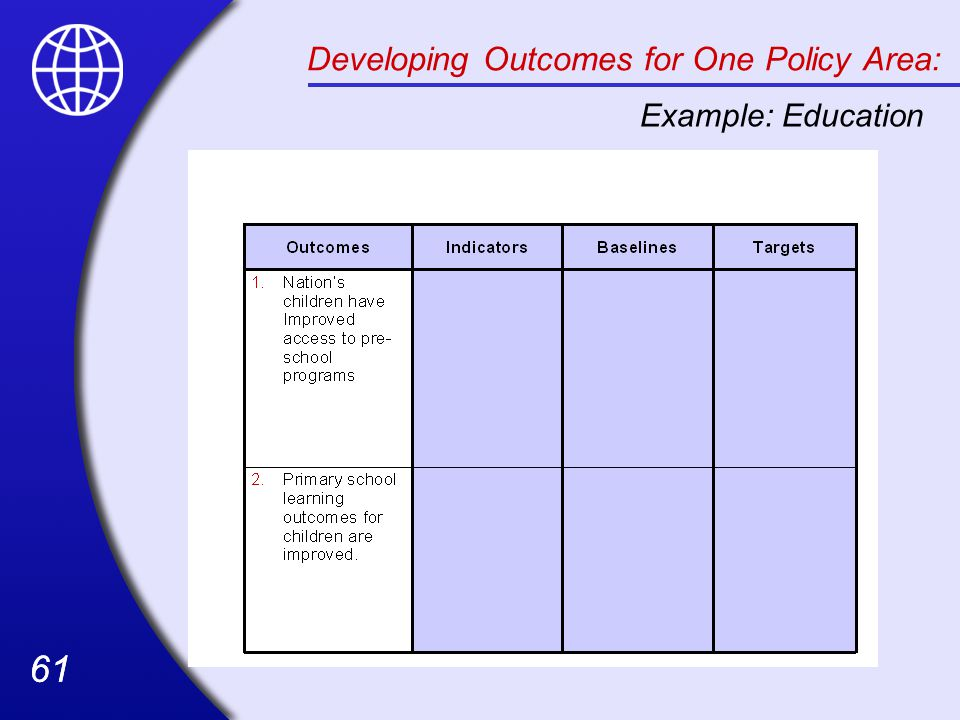 Developing Outcomes for One Policy Area: