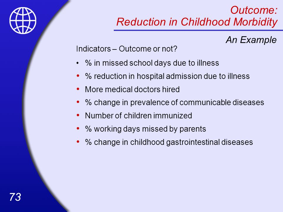 Outcome: Reduction in Childhood Morbidity