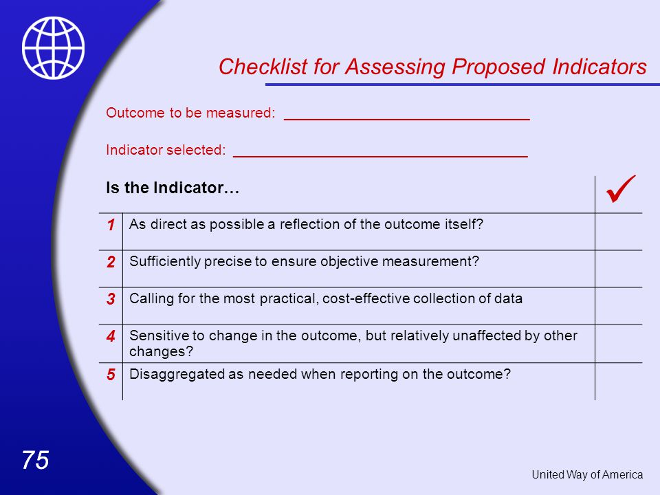 Checklist for Assessing Proposed Indicators