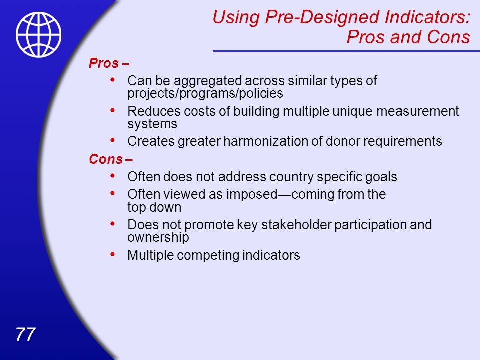 Using Pre-Designed Indicators: Pros and Cons