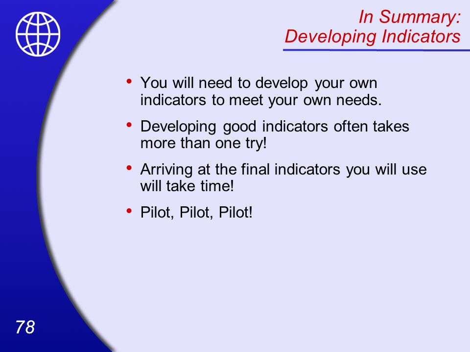 In Summary: Developing Indicators