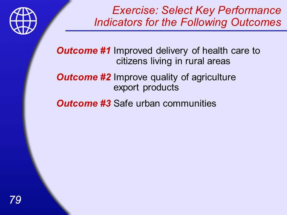 Exercise: Select Key Performance Indicators for the Following Outcomes