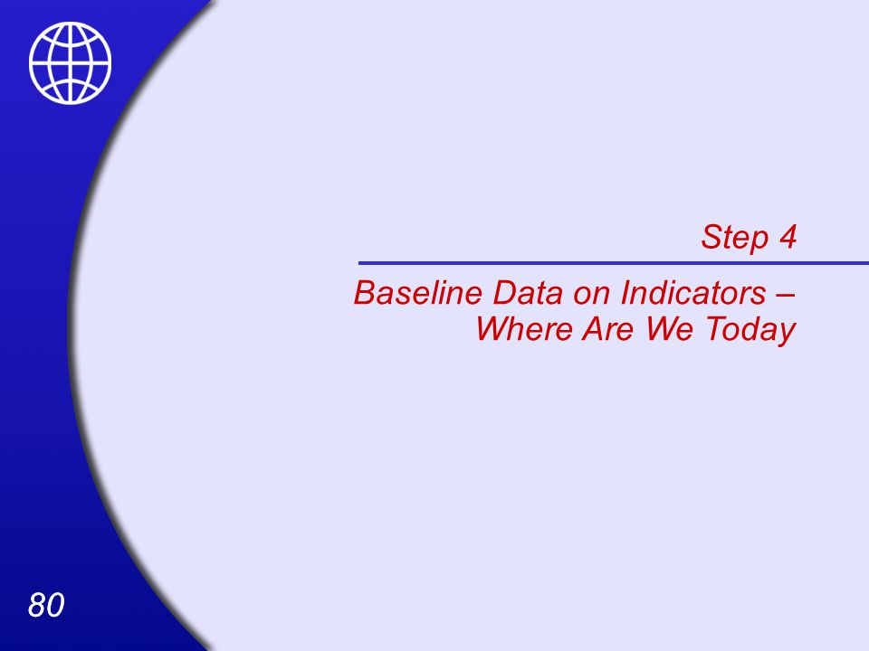 Step 4 Baseline Data on Indicators – Where Are We Today