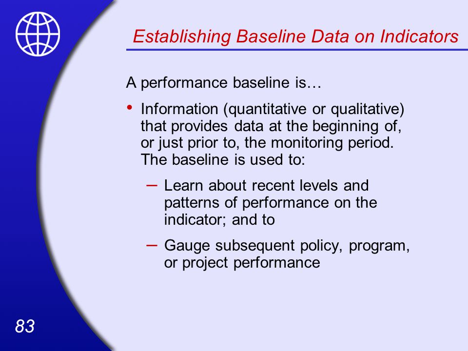 Establishing Baseline Data on Indicators