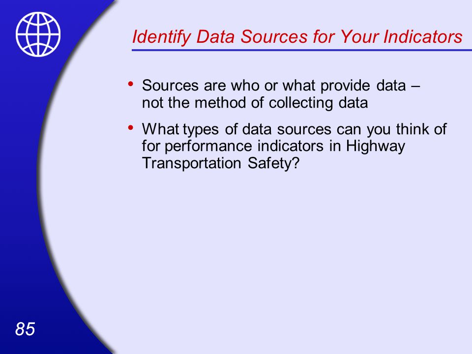 Identify Data Sources for Your Indicators
