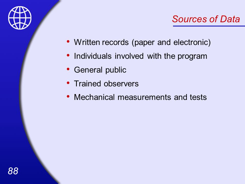 Sources of Data Written records (paper and electronic)