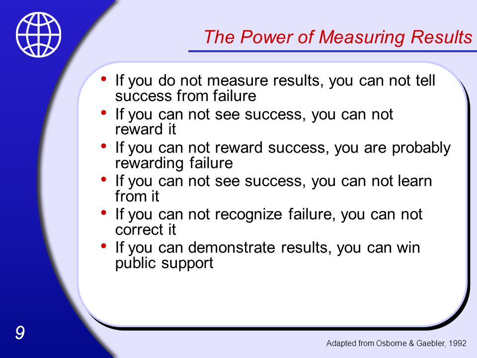 The Power of Measuring Results