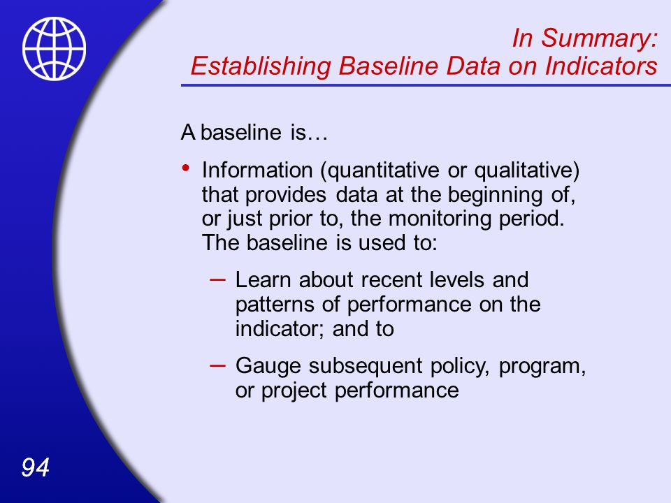 Establishing Baseline Data on Indicators