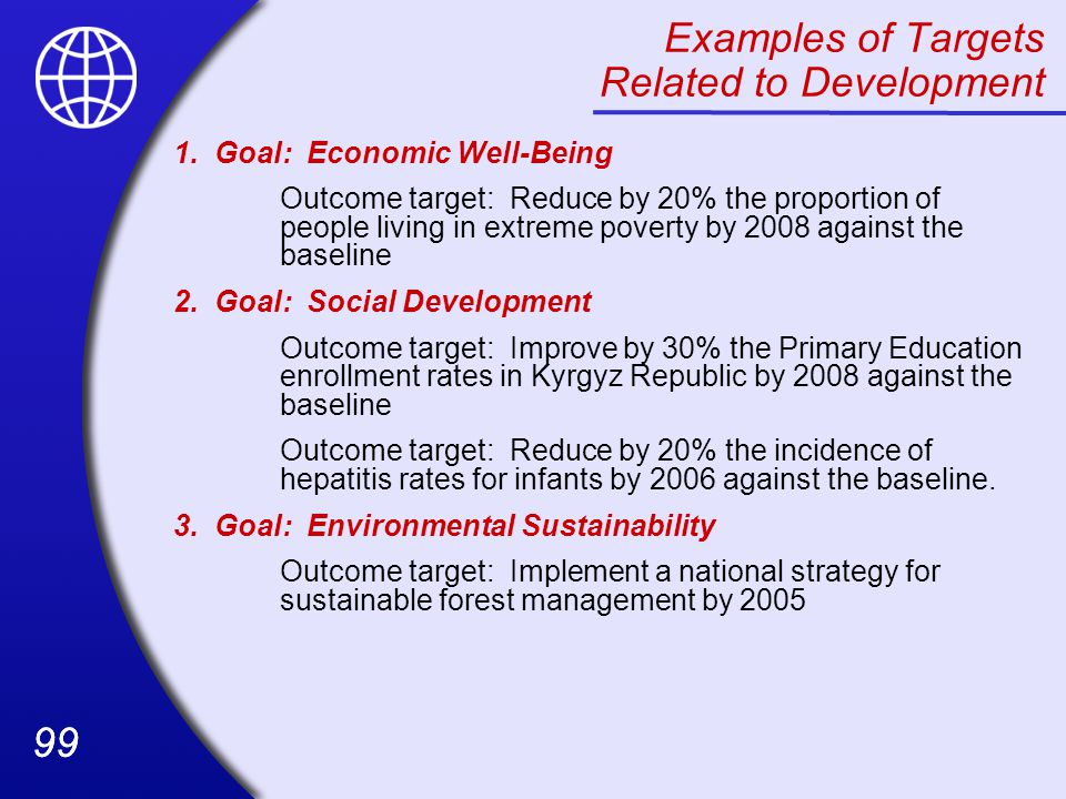 Examples of Targets Related to Development