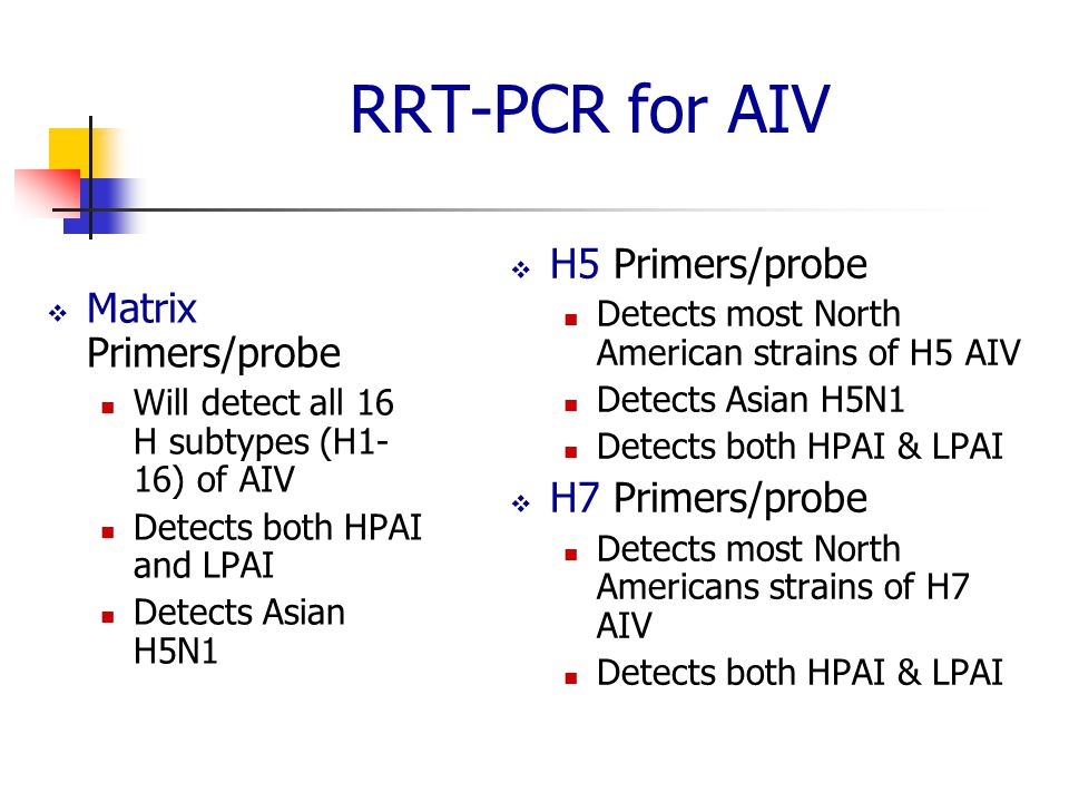 RRT-PCR for AIV H5 Primers/probe Matrix Primers/probe H7 Primers/probe