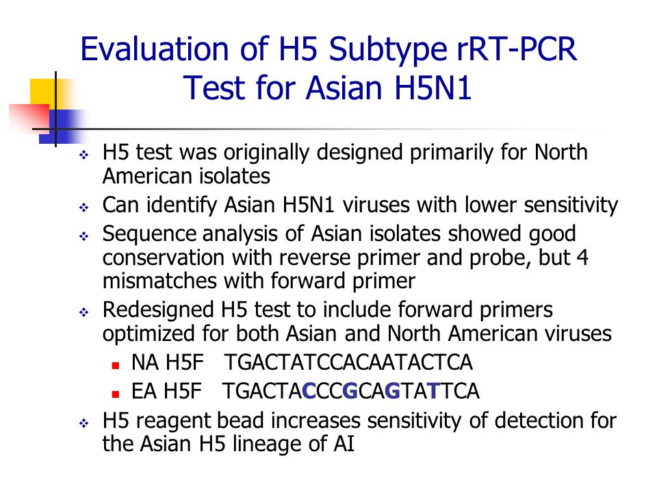 Evaluation of H5 Subtype rRT-PCR Test for Asian H5N1