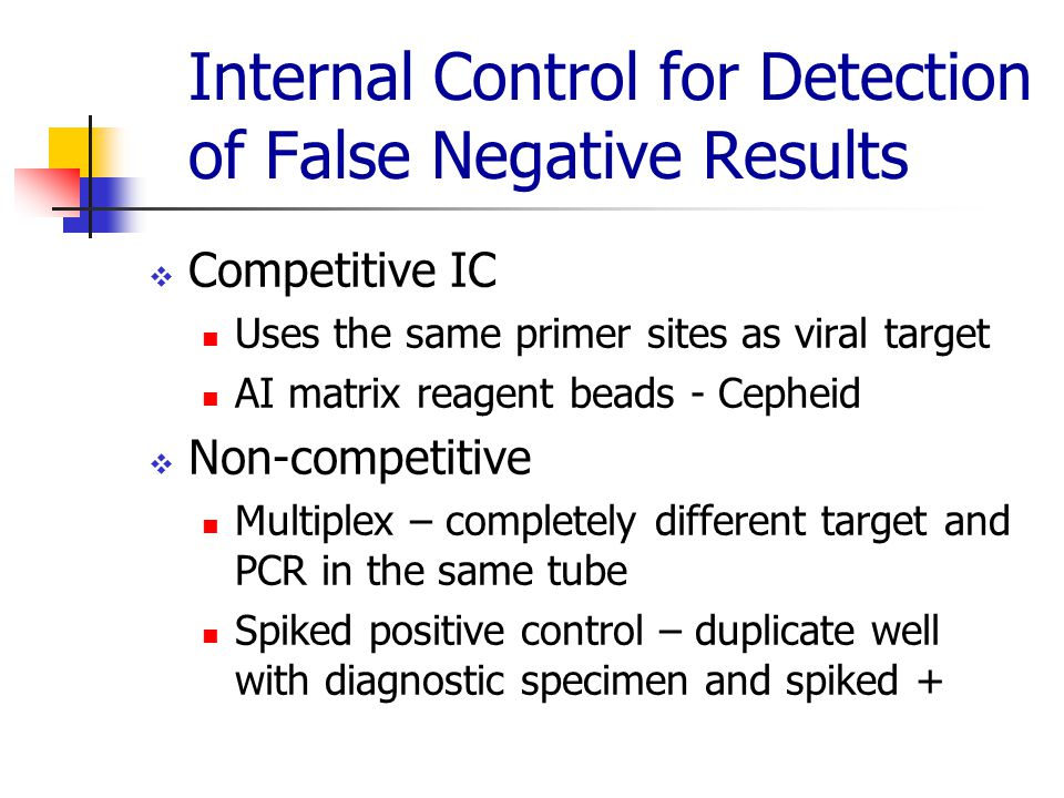 Internal Control for Detection of False Negative Results