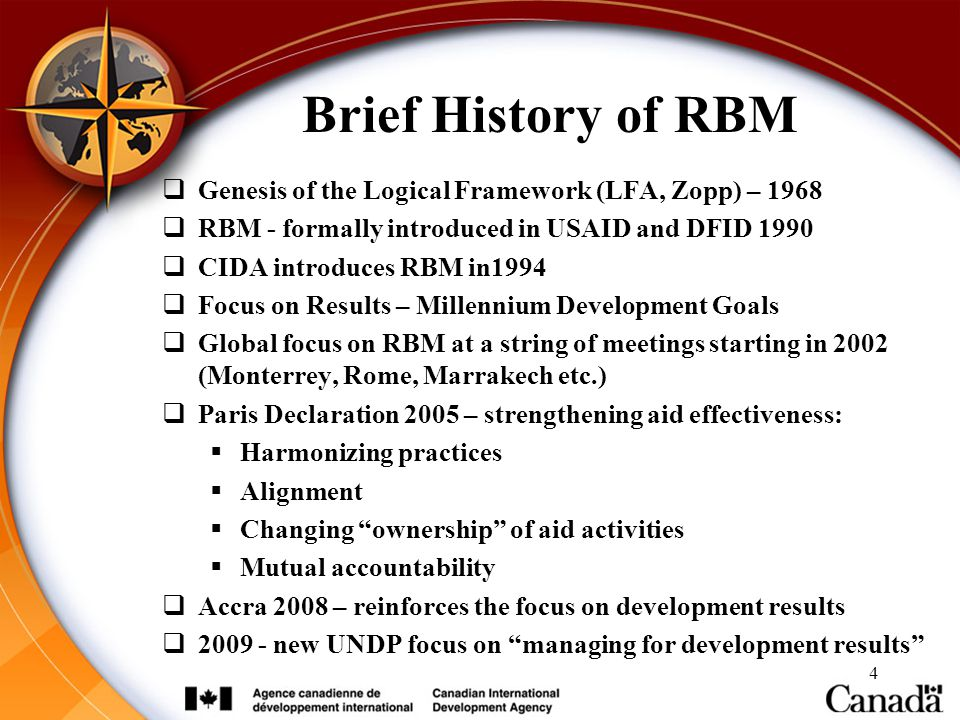 Brief History of RBM Genesis of the Logical Framework (LFA, Zopp) – 1968. RBM - formally introduced in USAID and DFID 1990.
