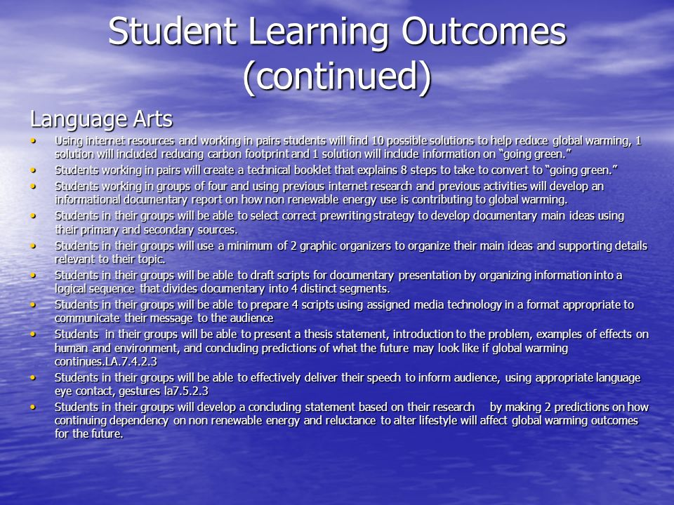 Student Learning Outcomes (continued)