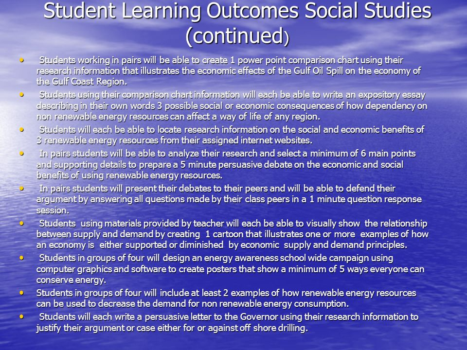Student Learning Outcomes Social Studies (continued)