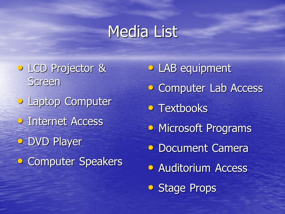 Media List LCD Projector & Screen Laptop Computer Internet Access