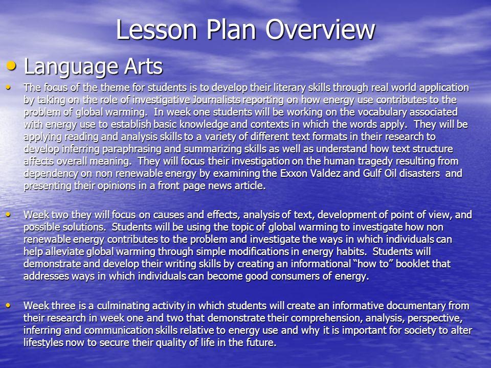 Lesson Plan Overview Language Arts