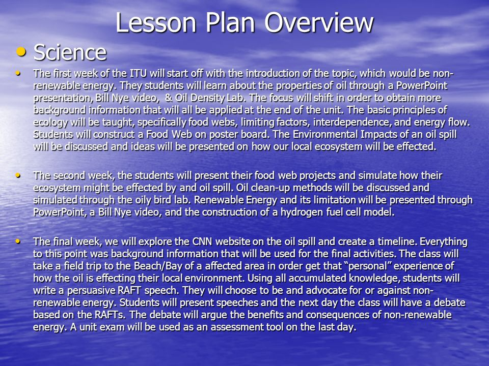 Lesson Plan Overview Science