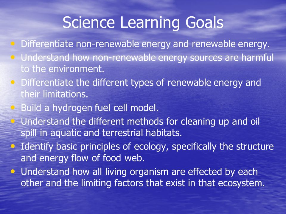 Science Learning Goals