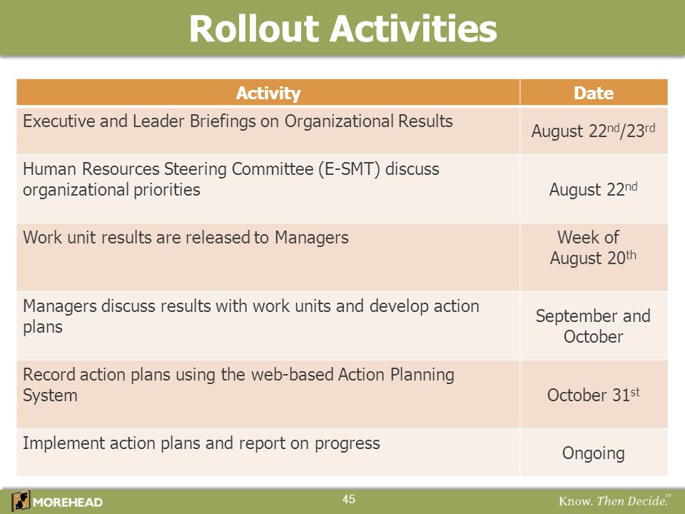 Rollout Activities Activity Date