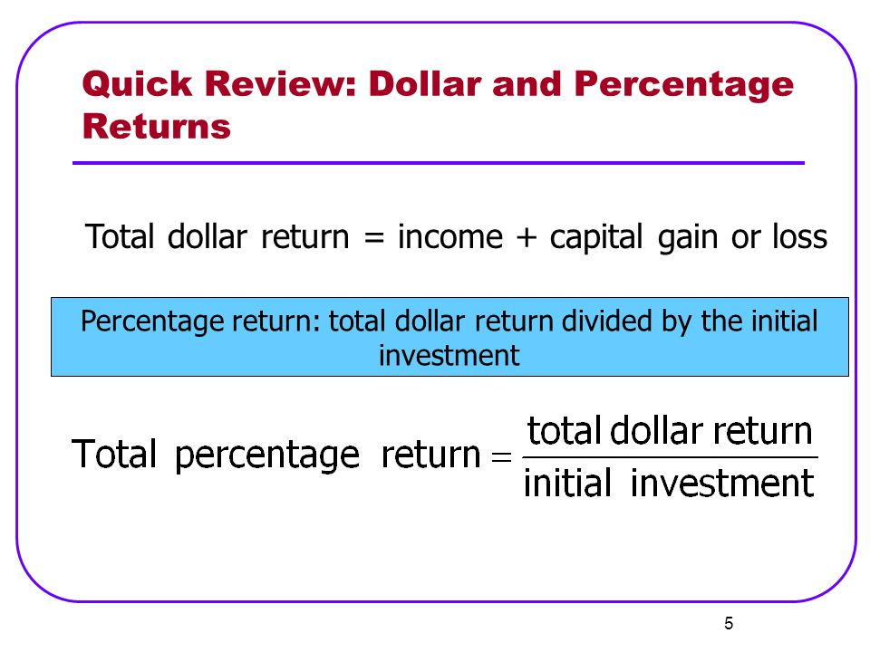 Quick Review: Dollar and Percentage Returns