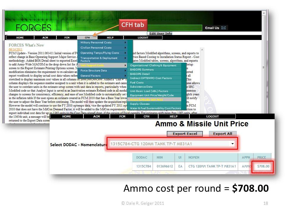 CFH tab Ammo cost per round = $708.00 © Dale R. Geiger 2011