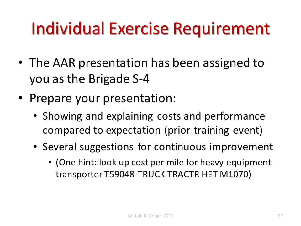 Individual Exercise Requirement