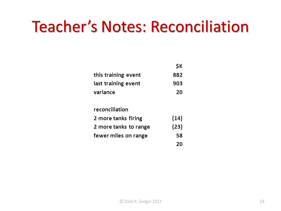 Teacher's Notes: Reconciliation
