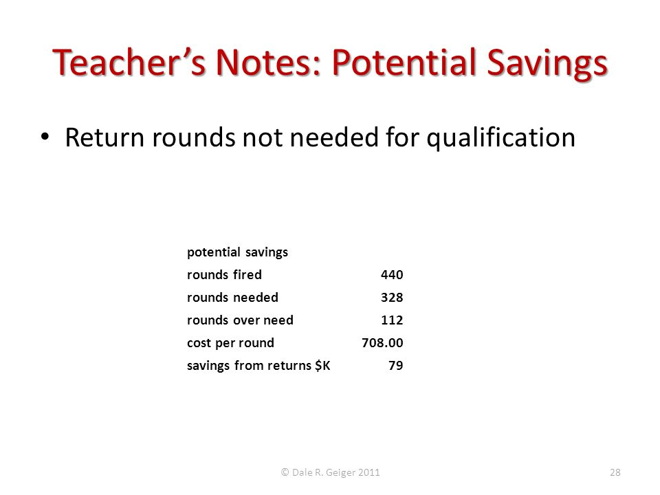 Teacher's Notes: Potential Savings