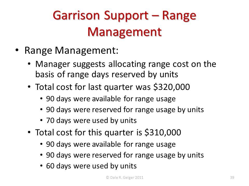 Garrison Support – Range Management