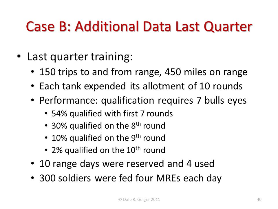 Case B: Additional Data Last Quarter