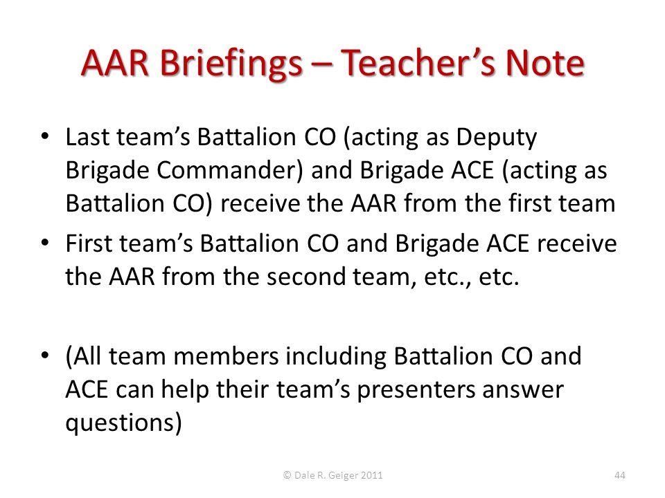 AAR Briefings – Teacher's Note