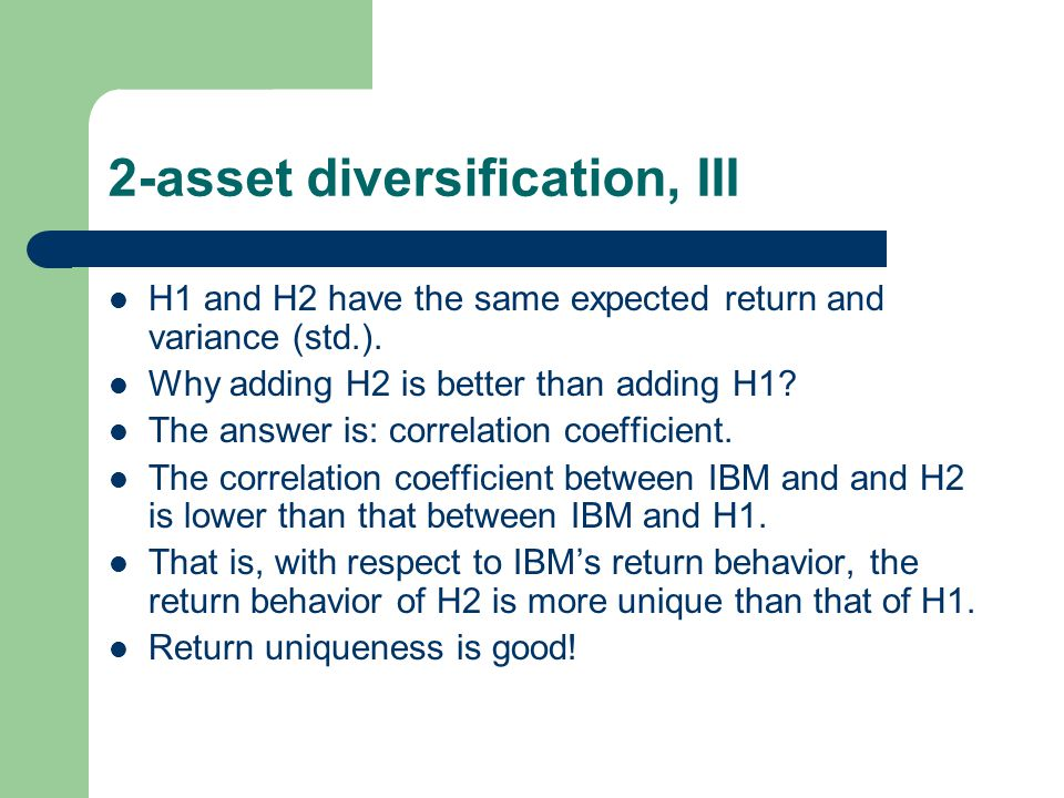 2-asset diversification, III