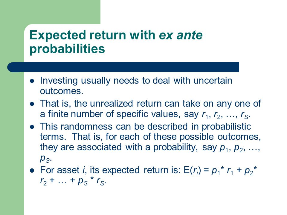 Expected return with ex ante probabilities