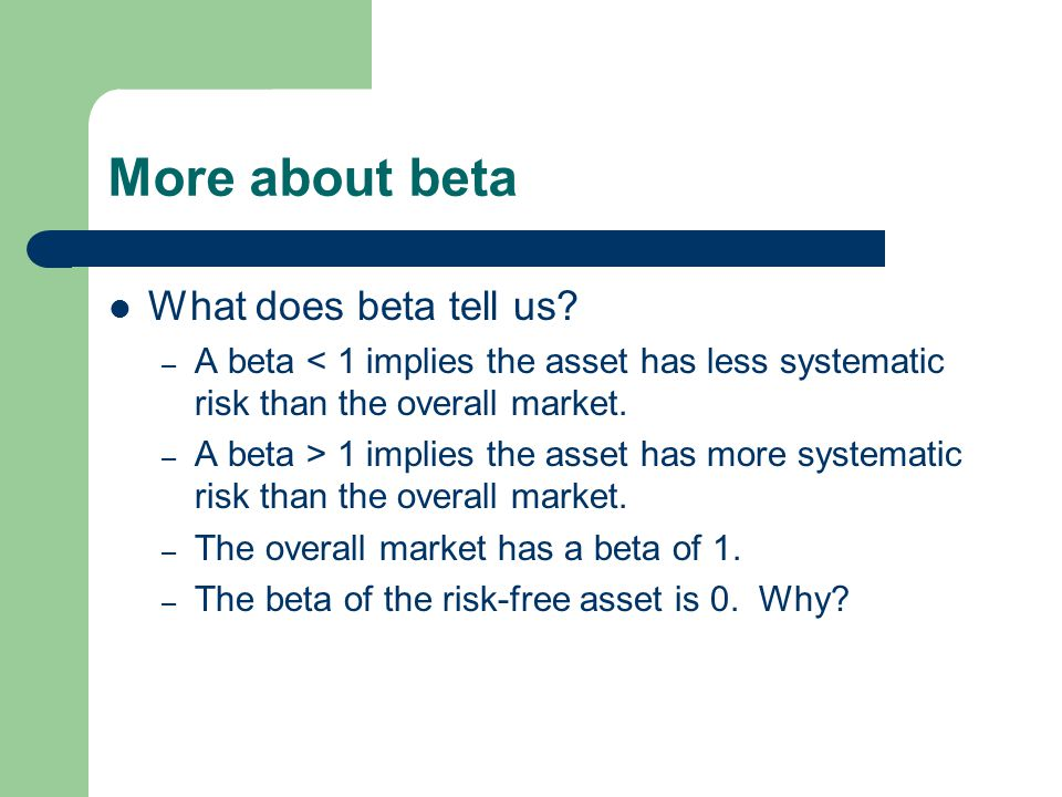 More about beta What does beta tell us