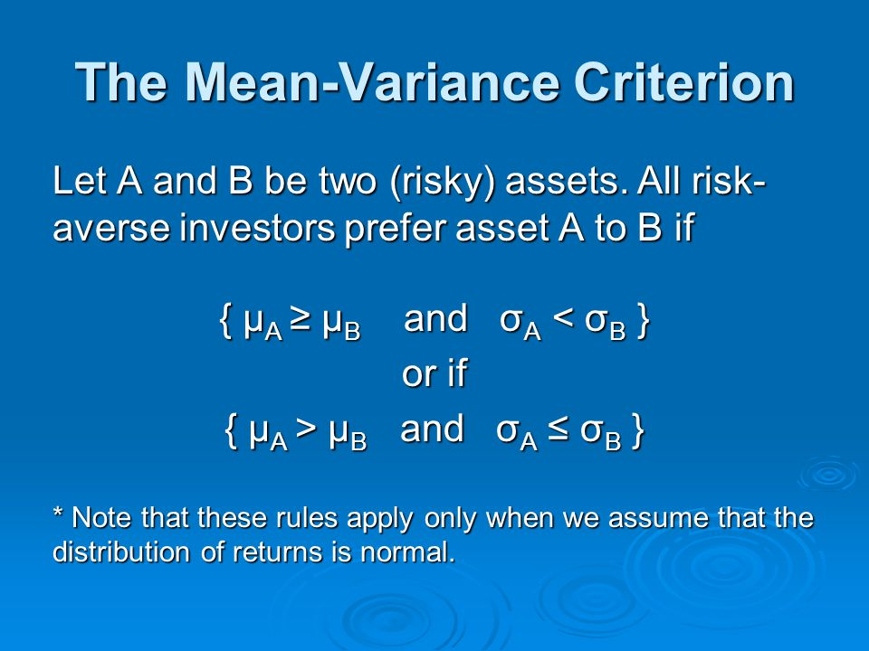 The Mean-Variance Criterion
