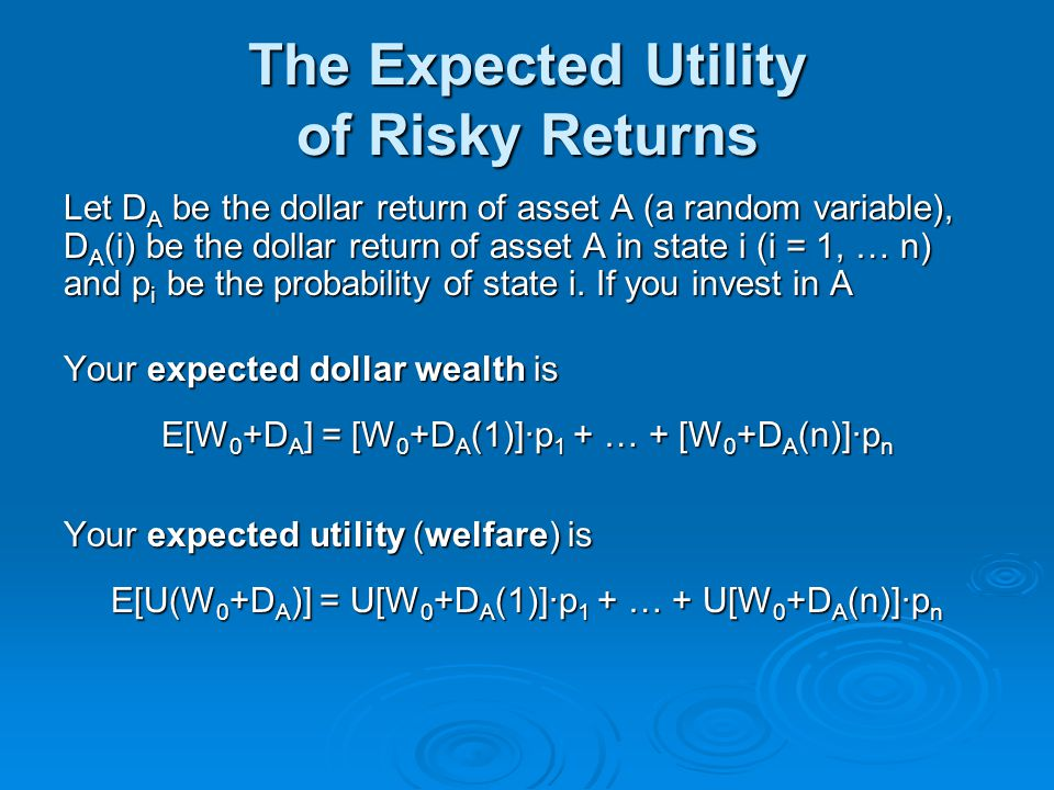 The Expected Utility of Risky Returns