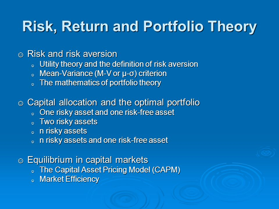 Risk, Return and Portfolio Theory