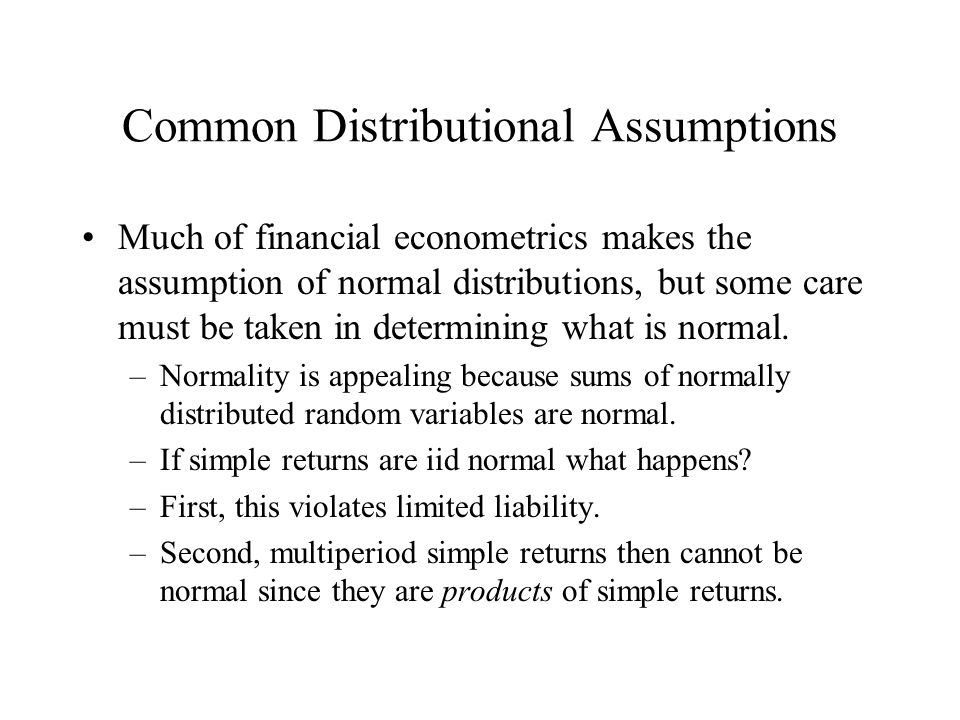 Common Distributional Assumptions