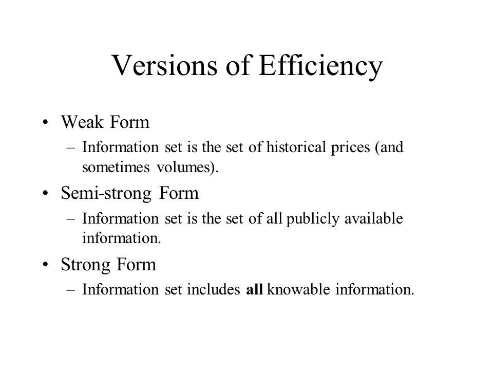 Versions of Efficiency