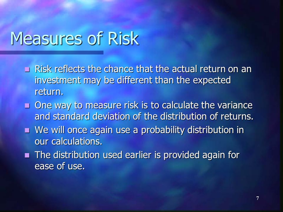 Measures of Risk Risk reflects the chance that the actual return on an investment may be different than the expected return.