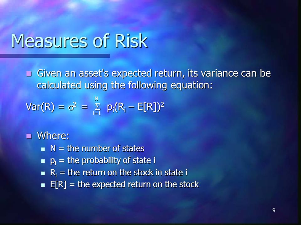 Measures of Risk Given an asset s expected return, its variance can be calculated using the following equation: