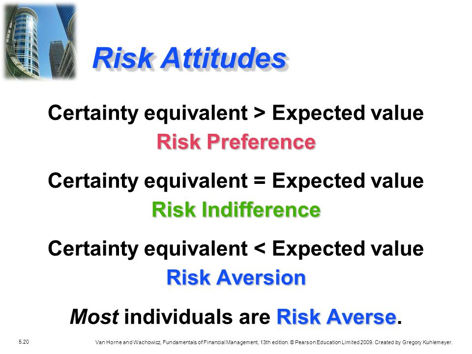 Risk Attitudes Certainty equivalent > Expected value
