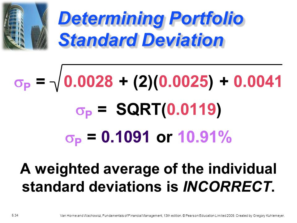 A weighted average of the individual standard deviations is INCORRECT.